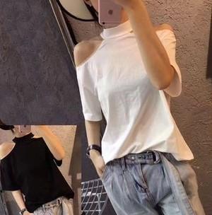 【送料無料】オフショルダー 無地 半袖Tシャツ ホルターネック カジュアルスタイル