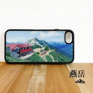 燕岳 燕山荘 強化ガラス iphone Galaxy スマホケース アウトドア 登山 山 北アルプス ブルー 青