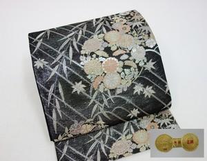 ☆91028☆未使用美品 袋帯 夏物 絽地 草花模様 西陣織