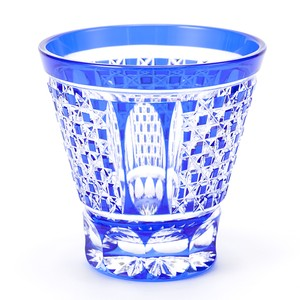 ロックグラス市松模様(瑠璃) 江戸切子の販売店 送料無料 無料包装 結婚祝 海外土産 記念品 退職祝
