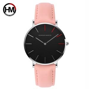 高品質の日本クォーツムーブメント防水デザインクリエイティブな女性の時計ローズゴールドブラックレザーレディース時計36mm1230-HR36-YF