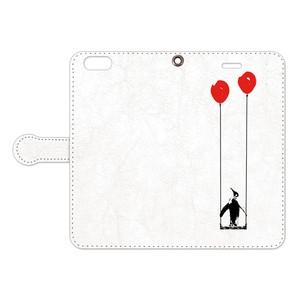 8/8Plus対応[手帳型iPhoneケース] ペンギンと風船とブランコ
