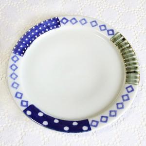 砥部焼 皐月窯  6寸リム皿(イッチンドット)