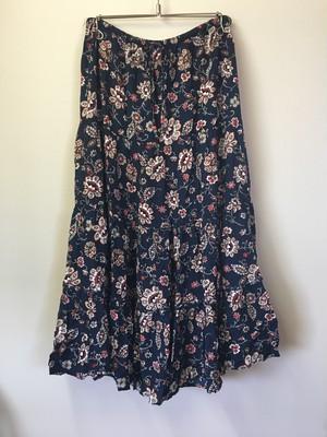 OLD Flower Pattern Rayon Skirt