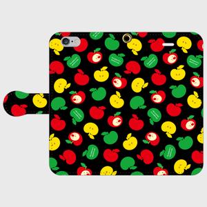 りんごちゃん(ブラック)手帳型スマホケース
