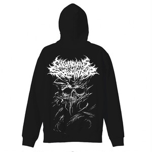I Need You Dead Zip-UP HOODIE Black × white