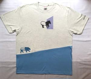 【2021年Tシャツ展】aosansyo「どこでもバク」Tシャツ オートミール×サックスブルー メンズLサイズ(Unisex)【ハンドメイドTシャツ・作家作品】