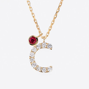 Initial K18YG Diamond【C】Pendant Necklace with Charm (ダイヤモンド イニシャル【C】ペンダントネックレス チャーム付き)