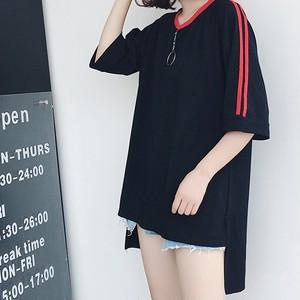 unisex ライン入り 燕尾風プルオーバー (肩赤ラインロング丈T-shirt)
