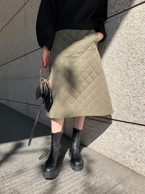 quilting flare skirt / khaki (即納)