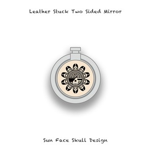 Leather Stuck Smartphone Ring / Sun Face Skull Design 002