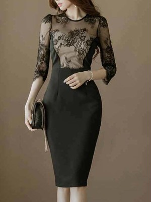 【dress】Ladies fashion sexy lace mesh party dress