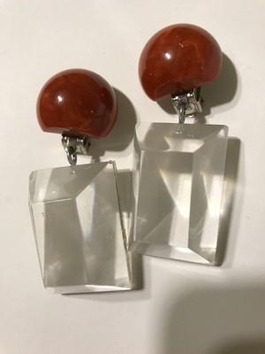 Vintage bakelite × lucite earrings ( ヴィンテージ ベークライト × ルーサイト  イヤリング )
