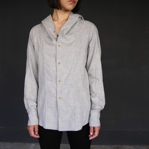 """Cotton Frannel Hooded Shirts """"FUNUIL""""  ライトグレー  yksh-20505"""