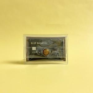 ブルーバナナパスケース/クリア×ブラウンボタン