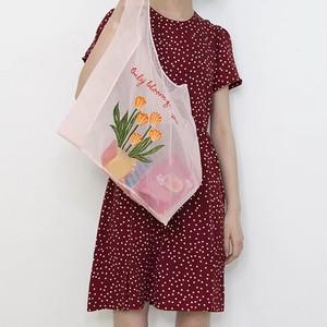 Bag♡オーガンジーエコバック オレンジフラワー