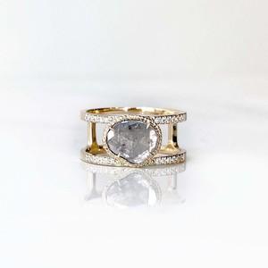 Double Arm Sliced Diamond Ring(R363-YD)