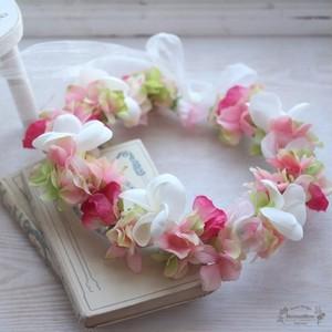 花冠*プルメリア・アジサイ・スイトピー(ピンク系)