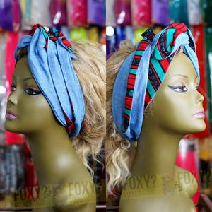 L03 【アフリカ布のヘアバンド/ターバン|ロングリボン】ワイヤー&ムスビ・リバーシブル