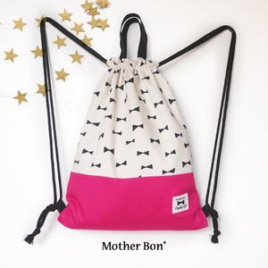 リボン×ピンクのナップサック☆女の子☆シンプル☆お着替え袋☆体操服入れ☆バックパック