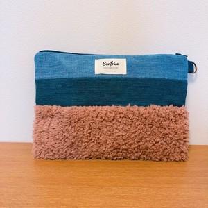 【お届けまで1-2週間】Denim clutch bag MC - Brown