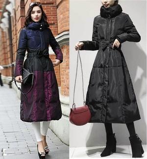 ロング ダウンジャケット レディース アウター コート 切替 リボン 大人 防寒 パープル ブラック ロングコート 大きいサイズ