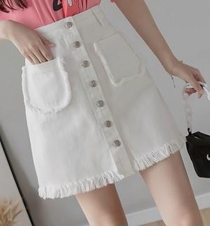 edge denim skirt 2color
