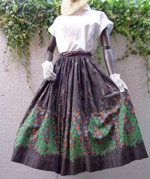 50~60s vintage flower pattern flare skirt 50~60年代 ヴィンテージ 花柄 フレアスカート