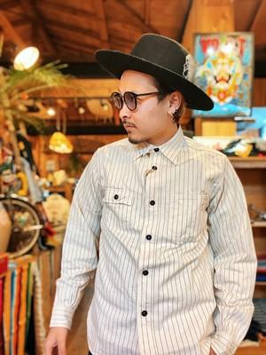 """SUGARCANE """"FICTION ROMANCE Wabash Stripe Work Shirt"""" White"""