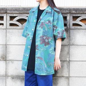 【USED】総柄 後染めグリーン オープンカラー アロハシャツ