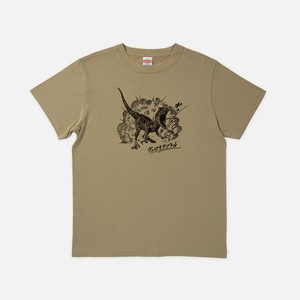 Tシャツ[リアルダイナソー]ヴェロキバースト サンドカーキ色