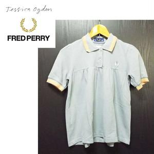 貴重な1着|フレッドペリー(FRED PERRY)× ジェシカオグデン(Jessica ogden)ワンポイント入り 鹿の子ポロシャツ|サイズ:USA 6 UK 10 EUR 36|ブルーグレー系|USED [682222784983]
