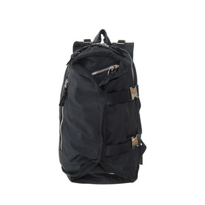 Double Strap Backpack Black×Silver LO-STN-BP02