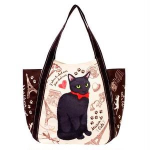 【猫柄】保冷保温バルーンバッグ(ブラウン黒猫)【肉球 547-303】