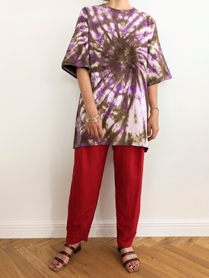 Tie Dye  Tee - PURPLE/BROWN