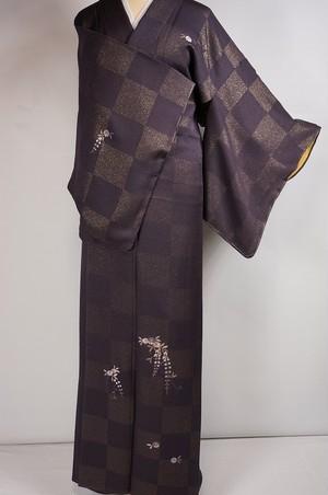 未使用 刺繍 金通し 付下げ 市松 花柄 正絹 深紫 紫色 419