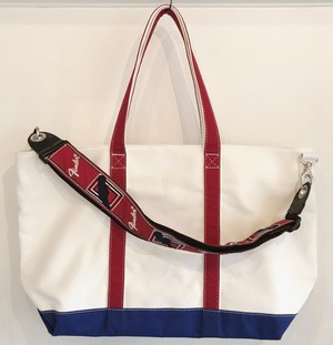 "Strap Tote ""TRICOLORE"" (White x Blue, Red) ストラップ赤ver"