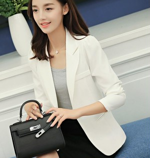 9603ビジネスジャケット レディース  テーラードジャケット コート スーツ カジュアル スリム 無地 白色ホワイト