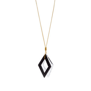 Wave Pattern Motif Necklace - Black