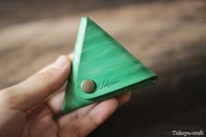 ツリーグリーンの三角コインケース