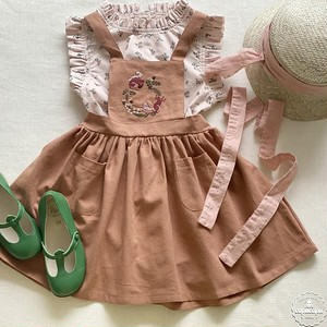 «sold out»«pour enfant» ラミー 刺繍ジャンパースカート ramie jumper skirt