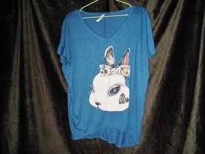 Tシャツ(青・ケバウサギ)