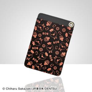 Suicaのペンギン印傳パスケース(スイーツ柄・黒革×ピンク漆)