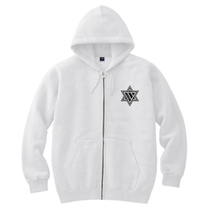 ERICH / HEXAGRAM FULL ZIP HOODED SWEATSHIRT WHITE
