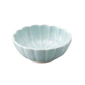 瀬戸焼 伍春窯 菊花 皿 鉢 ボウル 4.5寸 約14cm スカイ ブルー 127-0304