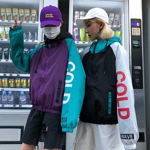 【アウター】配色ストリート系フード付きジャケット