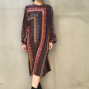 70's ethnic multi corol print dress