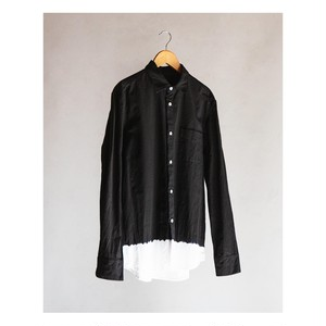 <OSOCU> Chita-momen shirt black dye white hem
