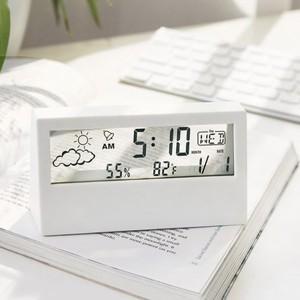 clear LCD clock / クリア クロック シンプル アラーム カレンダー 曜日 気温 天気 表示 透明 置き時計 韓国雑貨