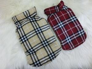 ★かわいい犬服ワンピ/ドレス  チェックリバーシブルダウン